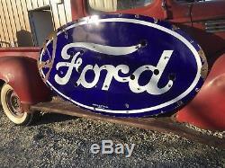 ORIGINAL Vintage FORD Dealership porcelain NEON Sign Car Truck Gas Oil FREE SHIP