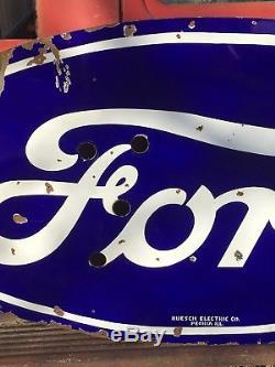 Ford Dealership Peoria Il >> Original Vintage Ford Dealership Porcelain Neon Sign Car Truck Gas Oil Free Ship