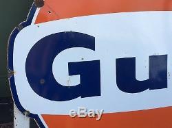 ORIGINAL Vintage GULF SIGN Gas Oil LARGE Old PORCELAIN Station FREE SHIPPING