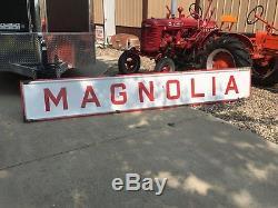 ORIGINAL Vintage MAGNOLIA Petrolum Gasoline & Oil PORCELAIN Gas Sign OLD 12' WOW