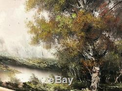 Oil Painting Vintage Landscape with River signed illegible (see pictures)large