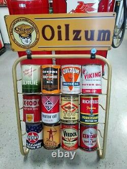Oilzum Quart Motor Oil Can Display Rack Holds 12 Quart Cans Vintage Style