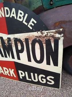 Old Original Vintage Champion Spark Plug Service Advertising Sign Gas Oil 1950's