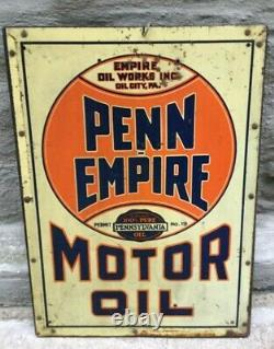 Old Original Vintage Sign Penn Empire Motor Oil Oil City PA USA Double Sided