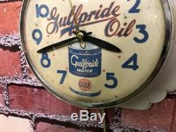 Old Vtg Ingraham Gulf Oil Dealer Advertising Gas Station Garage Wall Clock Sign