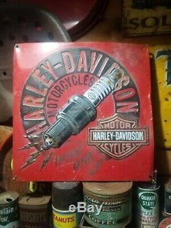 Old vintage embossed Harley Davidson motorcycle sign gas station garage oil