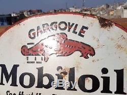Original 1930's Old Vintage RARE Gargoyle Mobil Oil Porcelain Enamel Sign Board