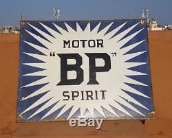 Original 1940's Old Vintage RARE BP Spirit Motor Oil Porcelain Enamel Sign Board
