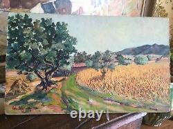 Original French Oil Painting Landscape Signed Leo Legler Vintage