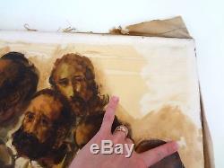 Original Last Supper Painting Antique Vintage Oil Jesus Religious Signed Large