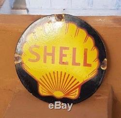 Original Old Vintage Rare Shell Oil Ad Porcelain Enamel Sign Board Collectible