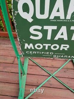 Original Quaker State Motor Oil Tombstone Street Talker Porcelain Sign vintage