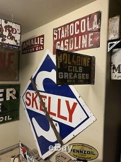 Original Vintage DSP Polarine Oils/Greases Sold Here Dealer Flange Sign NR