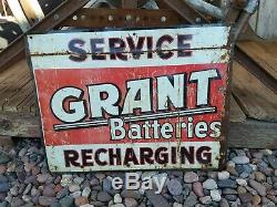 Original Vintage Grant Batteries Thick Metal Sign Gas Oil Advertising Two Sided