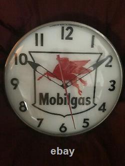 Original Vintage Mobil Oil Pegasus Pam Clock Glass Face Advertising Sign