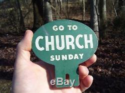 Original vintage 40s GO TO CHURCH SUNDAY license plate topper gm auto part bomba