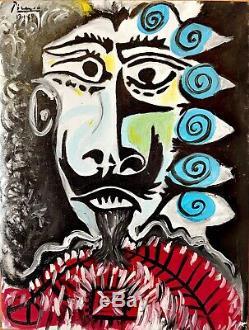 Pablo Picasso Antique Original vintage art 1969 oil painting hand signed