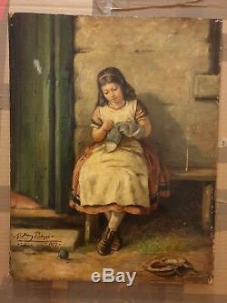 Pablo Picasso Original vintage rare 1899 Lola oil painting hand signed No print