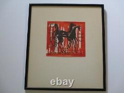 Painting Vintage 1960's Signed Horse Horse Expressionist Abstract Modernism Pop