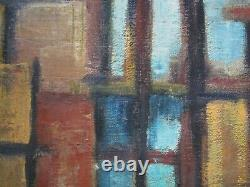 Painting Vintage Abstract Expressionism Regionalism Modernism 1950 Urban City