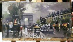 Pair of vintage Oil Painting signed urban landscape street scene wall art