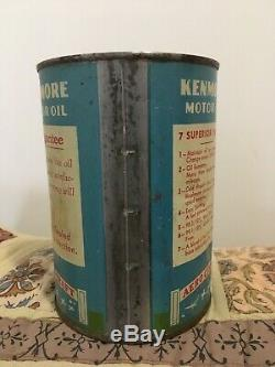 RARE Kenmore Graphic Motor Oil Can Qt Gas Sign Old Vintage Rt 66 Original