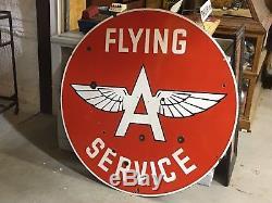 RARE! VinTagE FLYING A Gas Oil Station Garage DSP PORCELAIN HUGE 48 4' Sign WOW