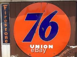 RARE! VinTagE UNION 76 SERVICE Gas Oil Station Garage SSP PORCELAIN HUGE 8' Sign