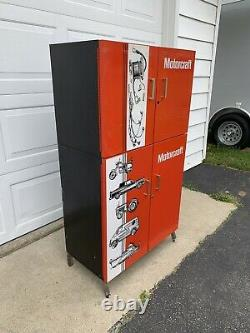 RARE Vintage 2 piece FORD MOTORCRAFT Parts Cabinet from Dealer Gas & Oil sign