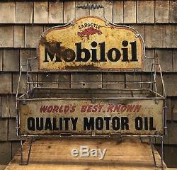 RARE Vintage 30s MOBILOIL Gargoyle Motor Oil Gas Station Quart Can Rack Display