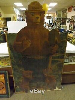 RARE Vintage Smokey the Bear ORIGINAL Masonite Sign GAS OIL COLA SODA 69