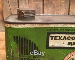 RARE Vintage TEXACO MOTOR OIL Handy Grip 1/2 Gal Tin Can Advertising Sign Dealer