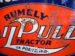 RUMELY OIL-PULL TRACTOR ENGINE Vintage Antique Porcelain Enamel Tin Paint Sign