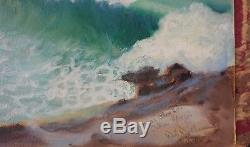 Rare Hawaiian Vintage Oil Painting Signed Dated 1951 Near Blow Hole Oahu