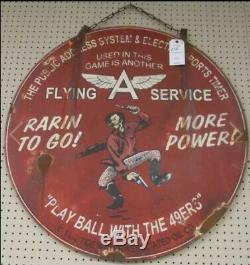 Rare Vintage 1952 Flying A Gasoline San Francisco 49ers Advertising Gas Oil Sign
