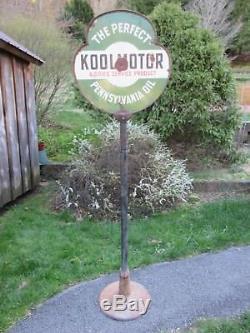 Rare Vintage Koolmotor Cities Service Oil Porcelain Lollipop Advertising Sign