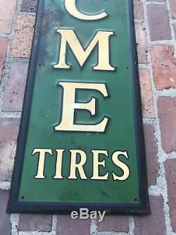 Rare Vintage Original 1937 Cities Service Oil Gas Metal Vertical Acme Tires Sign