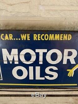 Rare Vintage Original Deep Rock Motor Oils Oil Can Display Rack Sign For Cars