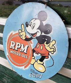 Rare Vintage RPM Motor Oil Mickey Mouse Sign Gas Station