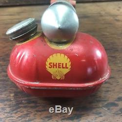 Rare Vintage Shell Tox Oil Company Sprayer Tin Can Petrol Sign Bowser