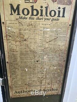 Rare Vtg 20s Gargoyle Mobiloil Gas Station Curbside Oil Display Cabinet with Sign