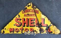 SHELL MOTOR OIL Lubricating Always Genuine Vintage Enamel Sign