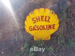 Shell motor oils vintage pump plate lubester steel porcelain gas station sign
