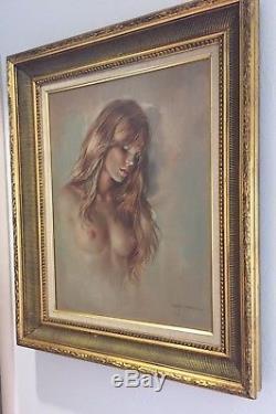 Signed Original Leo Jansen Nude Oil Painting Vintage 1970's Plaboy Artist