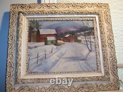 Signed Vintage American Winter Farm Landscape Oil Painting Antique Gesso Frame