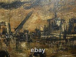Signed by Unknown Artist Vintage 1959 Oil on Board Painting Artwork