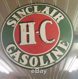 Sinclair h c sign porcelain gas oil vintage Collectable