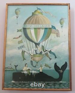 Sirens Hand Laundry Painting Canvas Print Mermaid Whale Hot Air Balloon R Cahoon