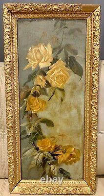 Stunning Antique Painting Of Wild Yellow Roses