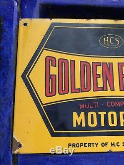 Super Rare Vintage Golden Fleece Enamel Sign Oil Bottle Rack Sign